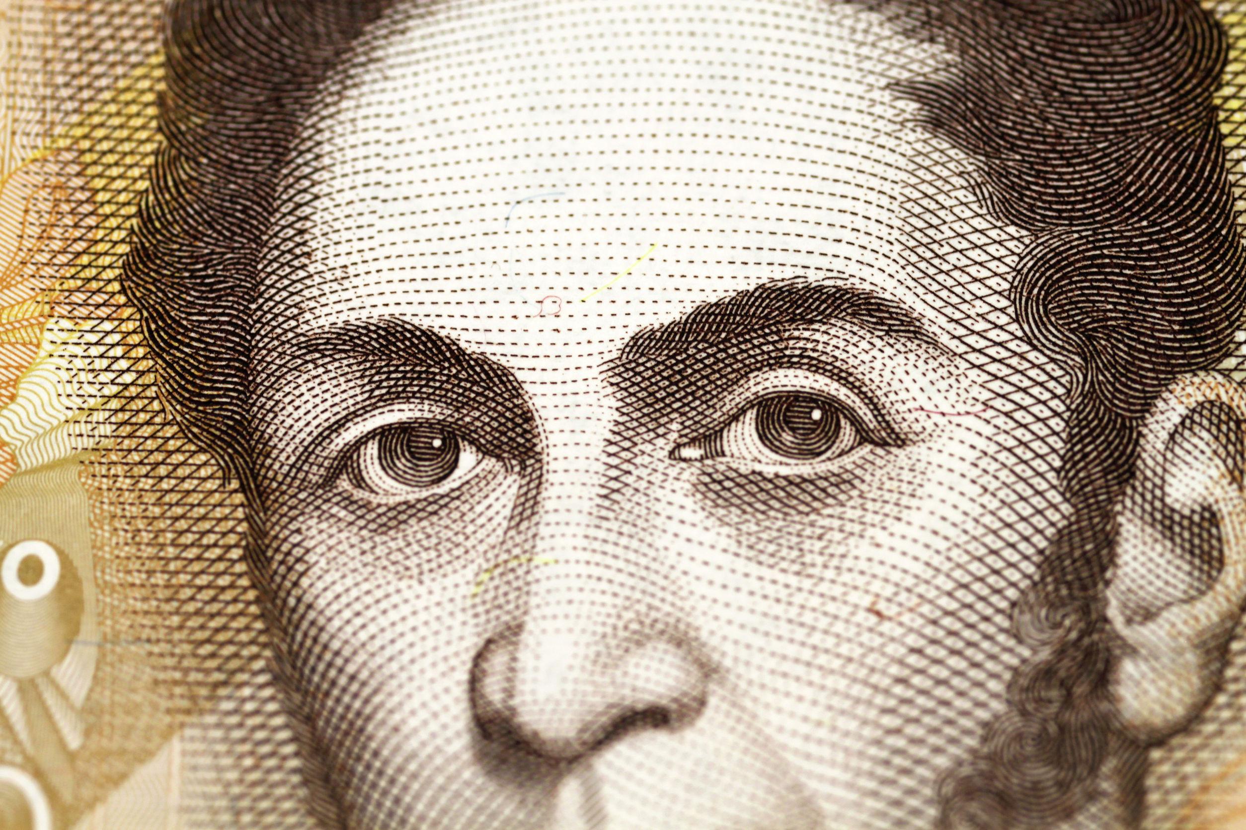 Close up em nota de 100 bolívares, moeda Venezuelana