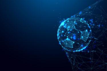 Bola de futebol desenhada em linhas como simulação virtual
